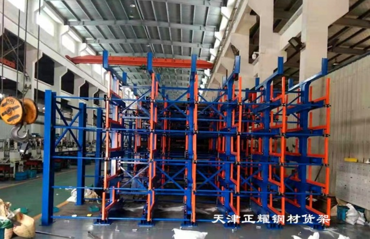 鋼材貨架在車間管理中的效果伸縮懸臂式結構整齊數量清晰