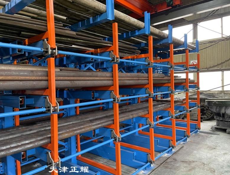 伸缩悬臂式货架在钢材棒料型材车间使用后的效果